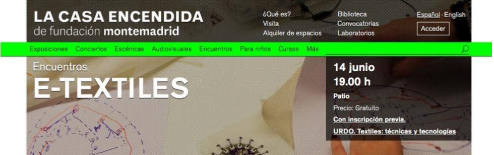 CURSO : E-textiles Y Wearables En El Programa URDO.